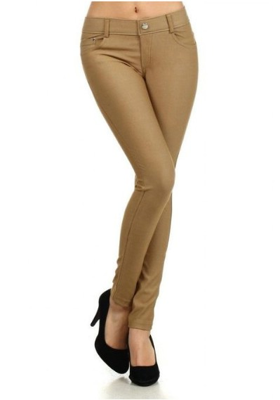 Herringbone Solid 5 Pocket Fashion Jegging with Rhinestones