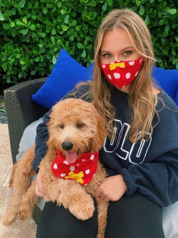 Dog Bandana and Matching Owner Face Mask Minnie Mouse style