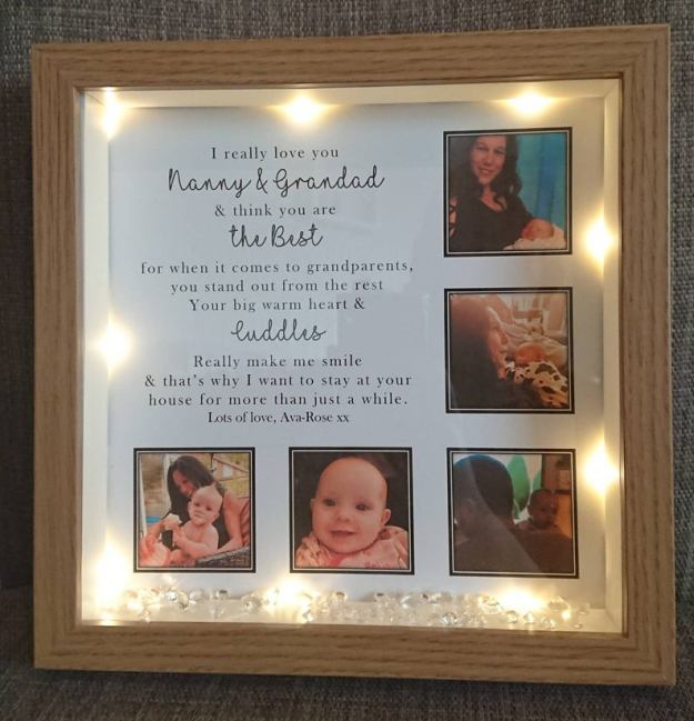 personalised photo frame gift for moms and grandparents