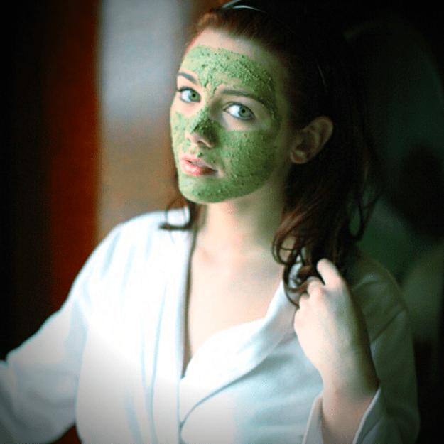 woman wearing rice bran face mask