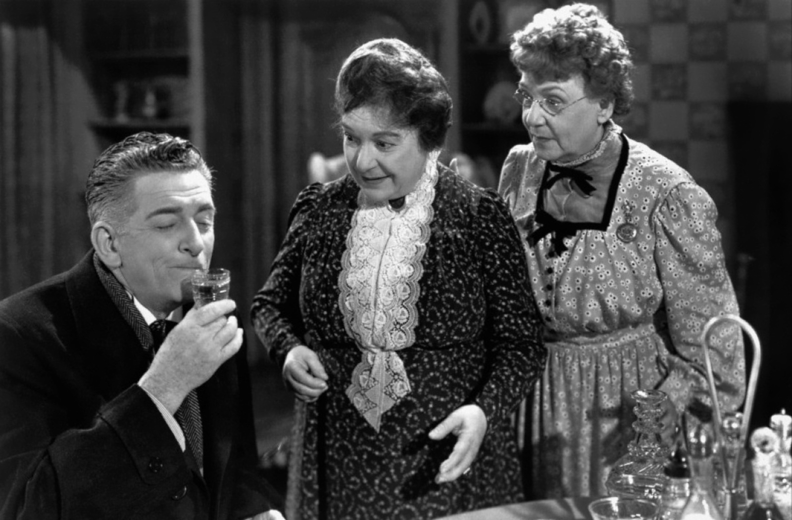 """The Shadow in Film: Abby and Martha Brewster, Arsenic & Old Lace. In this 1944 dark comedy, two elderly sisters are homebodies who have developed the """"very bad habit"""" of ending the presumed suffering of lonely old bachelors by serving them elderberry wine laced with arsenic. In this case, the two sisters value home life and solitude, but they are so anti-social and out of touch with human feelings that they display psychopathic behavior."""