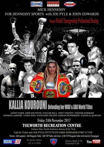 Kallia Kourouni to Defend her WIBF and GBU Championships on November 24