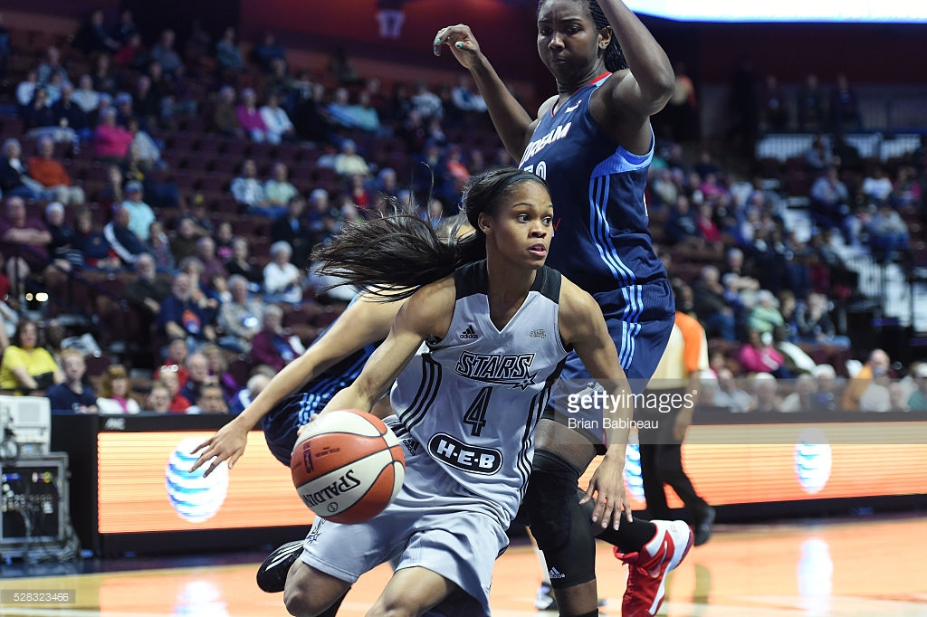 UNCASVILLE, CT - MAY 4: Moriah Jefferson #4 of the San Antonio Stars handles the ball against the Atlanta Dream in a WNBA preseason game on May 4, 2016 at the Mohegan Sun Arena in Uncasville, Connecticut. NOTE TO USER: User expressly acknowledges and agrees that, by downloading and/or using this Photograph, user is consenting to the terms and conditions of the Getty Images License Agreement. Mandatory Copyright Notice: Copyright 2016 NBAE (Photo by Brian Babineau/NBAE via Getty Images)