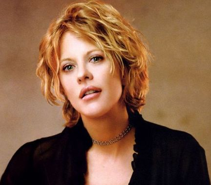 Meg Ryan With Medium Short With Light Curls And Long Side
