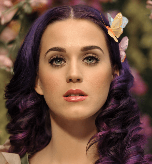 Music Katy Pictures With Curly Hairstyle With Dark Purple