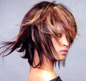 Medium Layered Hair Style With Long Bangs Highlight