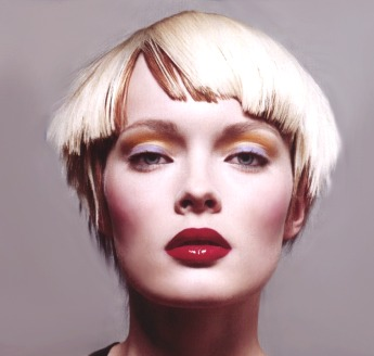Very Short Funky Hair Style With Blunt Bangs Pure White