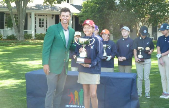 Alexa with PGA Tour player Adam Scott at 2016 Masters' Drive, Chip, and Putt competition