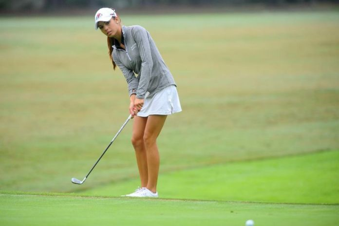 Sarah Bertam playing for Gardner-Webb in the Big South Women's Golf Championship 2015