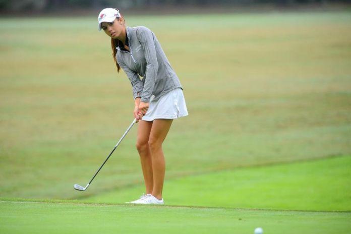 Sarah Bertam playing for Gardner-Webb in the Big South Women's Golf Championship 2015
