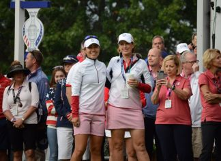 Danielle Kang and Team USA Captain, Juli Inkster Friday Morning Solheim Cup Day One