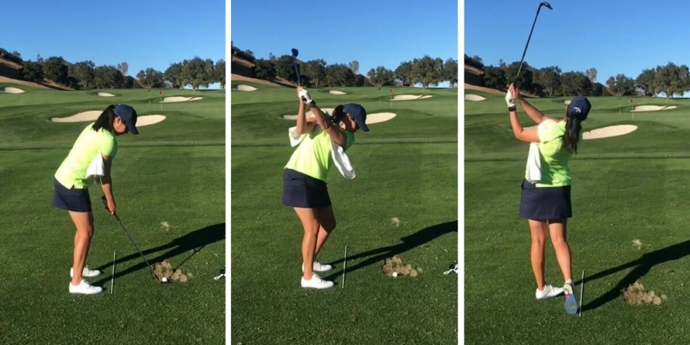 Lucy Davies demonstrates the Towel Drill WomensGolf.com
