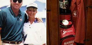 Karrie Webb idolized Greg Norman growing up and finally had a chance to meet him at the Greg Norman Junior Masters tournament in 1991. Photograph courtesy of Karrie Webb