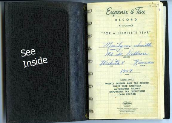 The cover of the leather-bound Expense & Tax Record log book was used by Marilynn Smith to keep meticulous track of all her travel expenses during the 1957 LPGA season. Log book donated by Marilynn Smith to the World Golf Hall of Fame & Museum