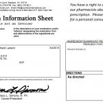 Prescription Information Sheet