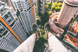 View from sitting on top of a skyscraper