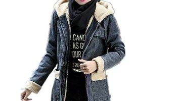 1c06e015bd0bb YAYAJIE Womens Fleece Lined Thicken Hoodie Denim Jacket Winter Overcoat