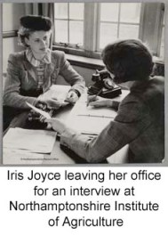 Iris Joyce leaving her office for an interview at Northamptonshire Institute of Agriculture