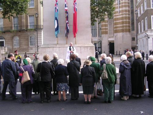 A brief service at the Cenotaph for former land girls and lumber jills, October 2009, as part of the annual WLA Remembrance event which ended in 2012. Source: Stuart Antrobus