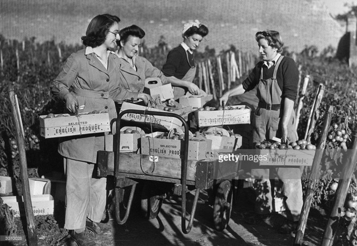 Members of the Women's Land Army training at East Melling, near Maidstone, in Kent.
