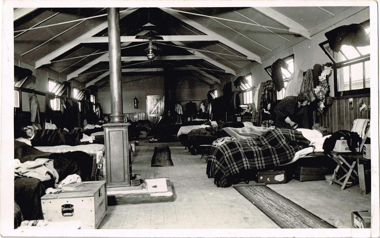 Accommodation at Culford Camp, Suffolk. Margaret Elizabeth Sutherland (nee Coldwell) at Culford Camp, Suffolk