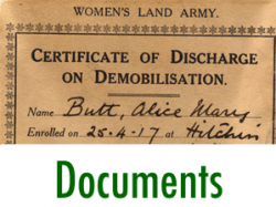 First World War Women's Land Army Archive: Documents