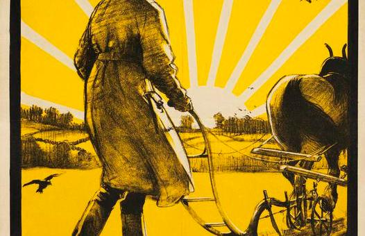 God Speed the Plough and the Woman Who Drives It. Land Girl, full-length figure, in uniform and hat, guiding a horse-drawn plough to right. Source: Art.IWM PST 5996, 1917
