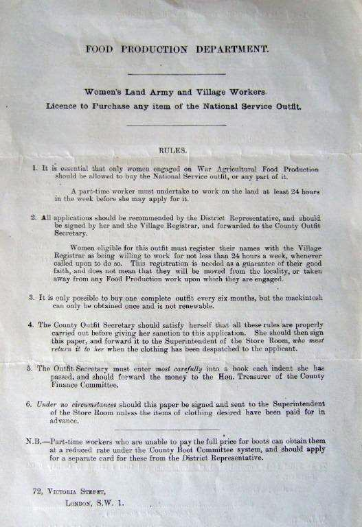 Front page of form 'License to Purchase Any Item of National Service Outfit (working clothes) c1917.