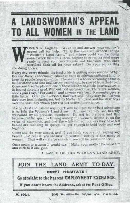 """Recruiting poster [updated. c 1917] """"A Landswoman's Appeal To all Women In The Land…Join The Land Army To-day. Don't Hesitate."""" Courtesy of Stuart Antrobus"""