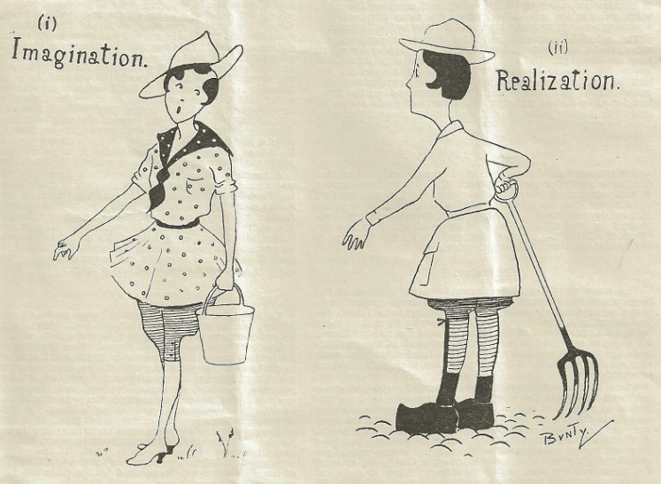 WW1 Women's Land Army Cartoon - Imagination and Realization Source: The Land Girl, September 1918, p 190