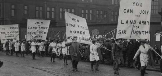 Women's Land Army, Fishergate, Preston Recruiting for Women's Land Army. Procession crossing the Railway Bridge with County Hall in the background. Source: Lancashire Lantern: Image Archive, item 4975
