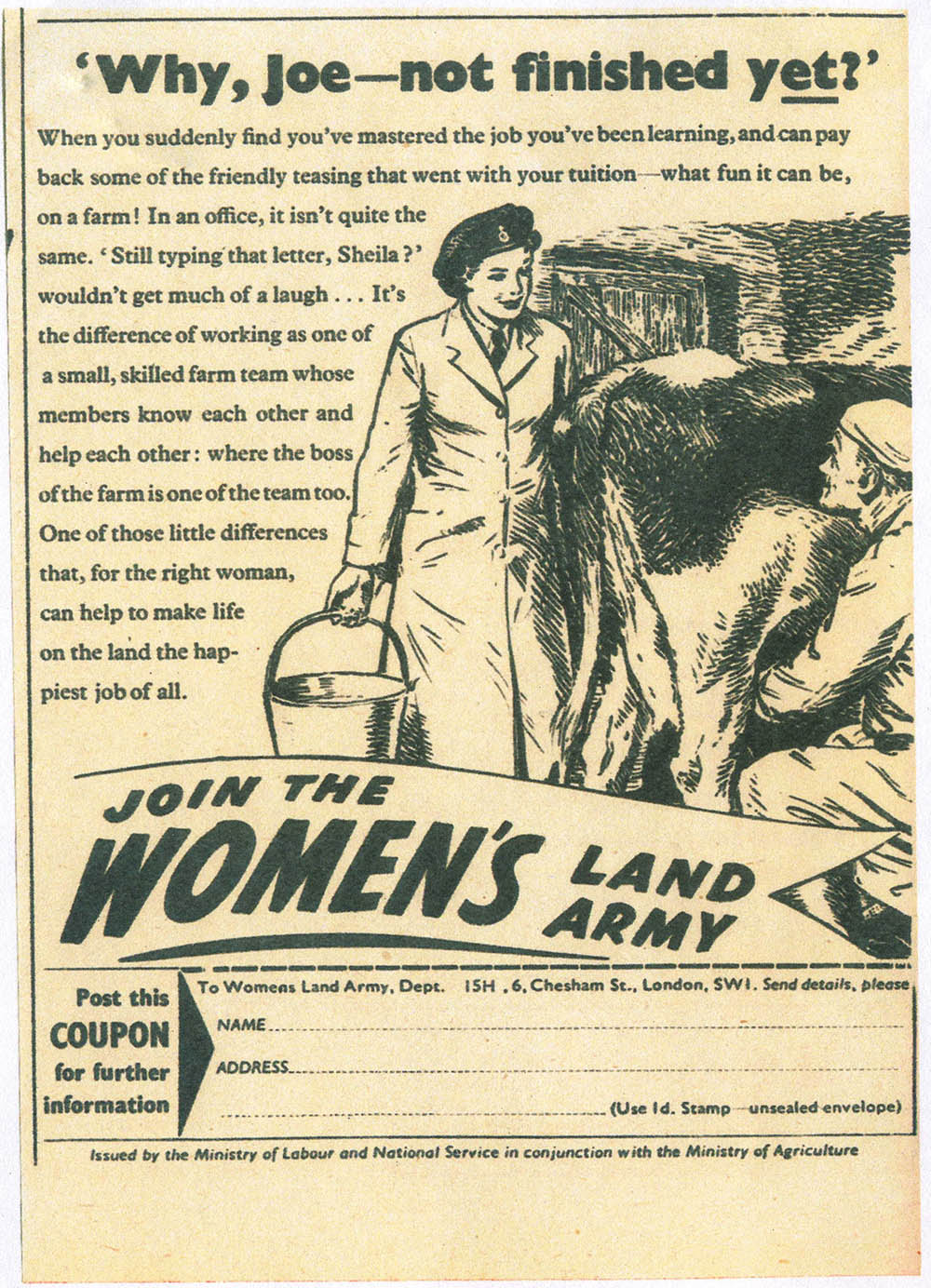 Why, Joe - not finished yet? Source: Bronwen Jones. Women's Land Army newspaper recruitment.