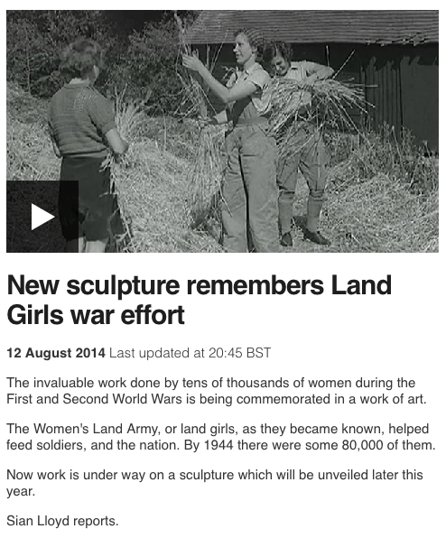 New sculpture remembers Land Girls war effort