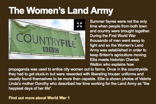 A description of the Women's Land Army feature on the Countryfile website.