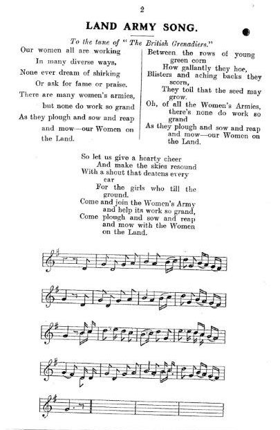 WW1 WLA Song 2 (to The British Grenadiers tune)<br /> Source: Women's Land Army LAAS Handbook, c.1917'<br /> Courtesy: Stuart Antrobus