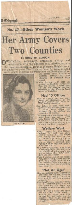 Newspaper Article on Marjorie Haigh celebrating her work as county organiser.