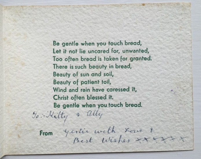 Inside of Women's Land Army Christmas Card