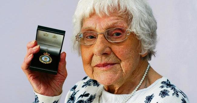Elsie Haysman with her Women's Land Army medal Picture-ANNA LUKALA BA105315