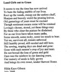 Poem: Land Girls Out To Grass