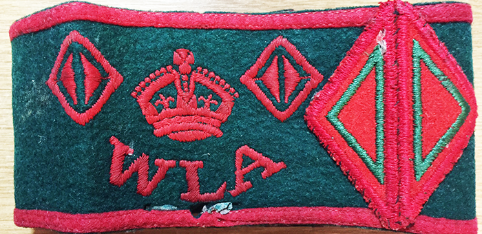 Clementine Mendleson (nee Freeman) Women's Land Army armband, showing 3 years of service.
