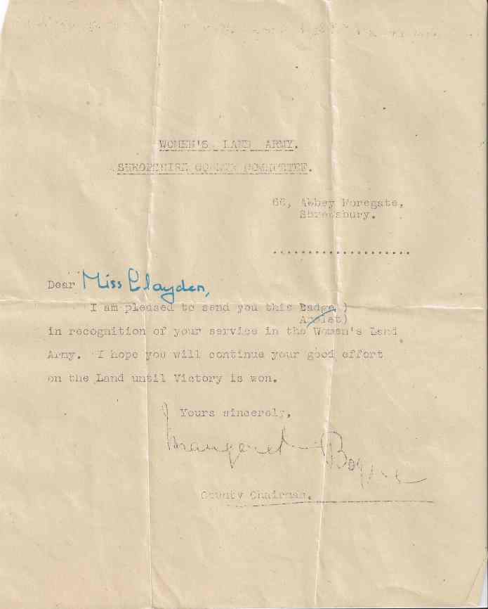 Presumably by the time Dorothy attended the parade, she would have been issued with a WLA badge, as this undated letter states.
