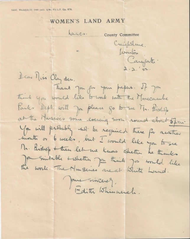 Invitation to Dorothy Clayden to work with Morecombe Parks Department, 2nd February 1944.