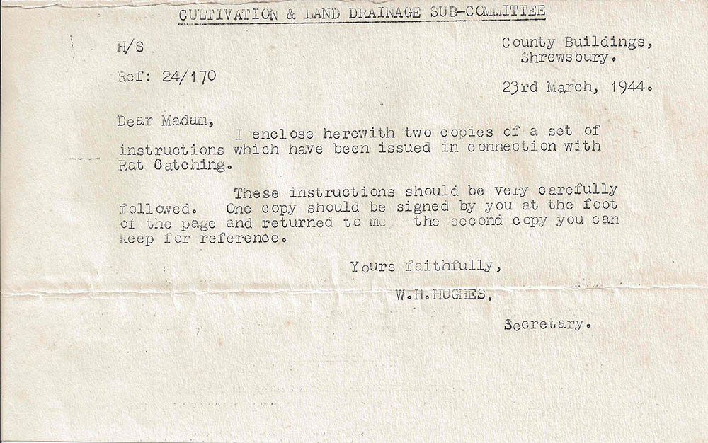 Letter sent to Dorothy in March 1944 with instructions on rat catching.