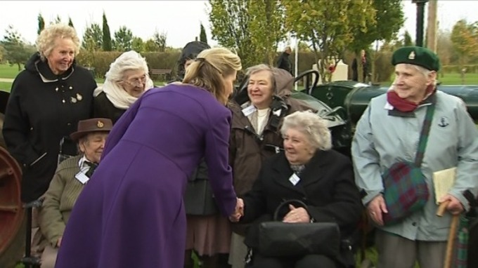 Mary Malpass (in the black coat), shaking hands with Sophie, the Countess of Wessex GCVO