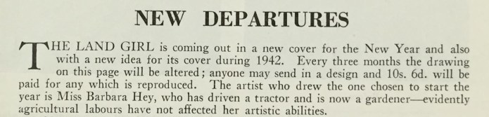 New Departures from the front page of the April 1942 edition of The Land Girl.