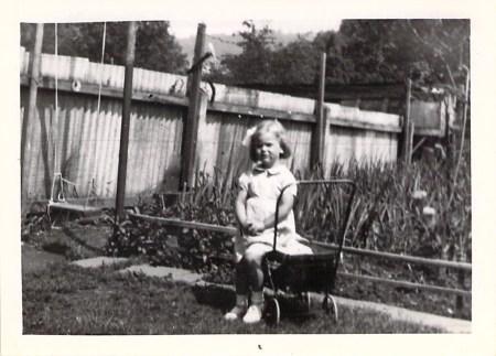 June, aged 3 in the garden in Wootton-u-Edge, 1943.