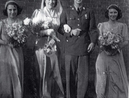 GI bride Eva Marriot marries Houston Johnson in Bedford in 1943.