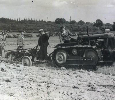 Katharine Ann Furley on a tractor.