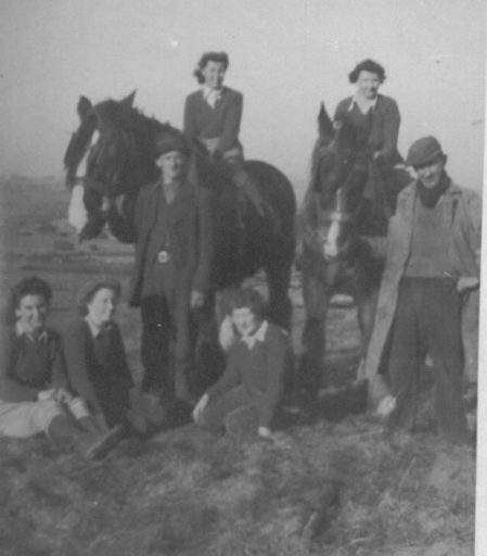Gwyneth Mary Edwards (right on horse) on Vaynol Estate
