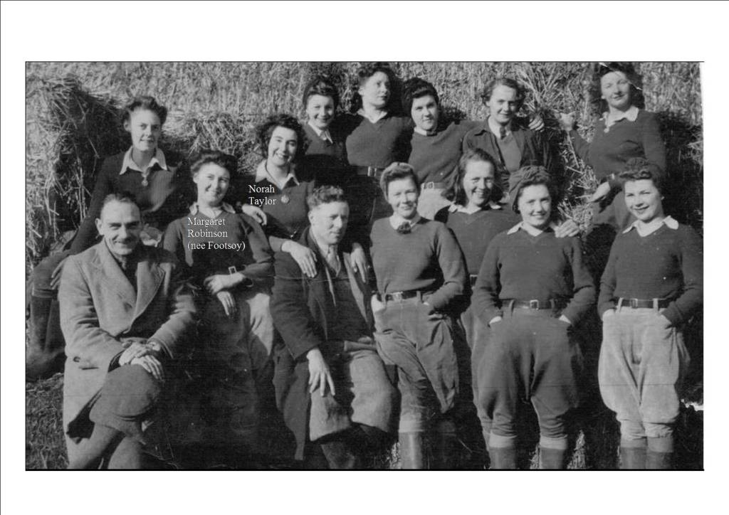 Group photo of the rat-catching girls with Margaret and friend Norah identified